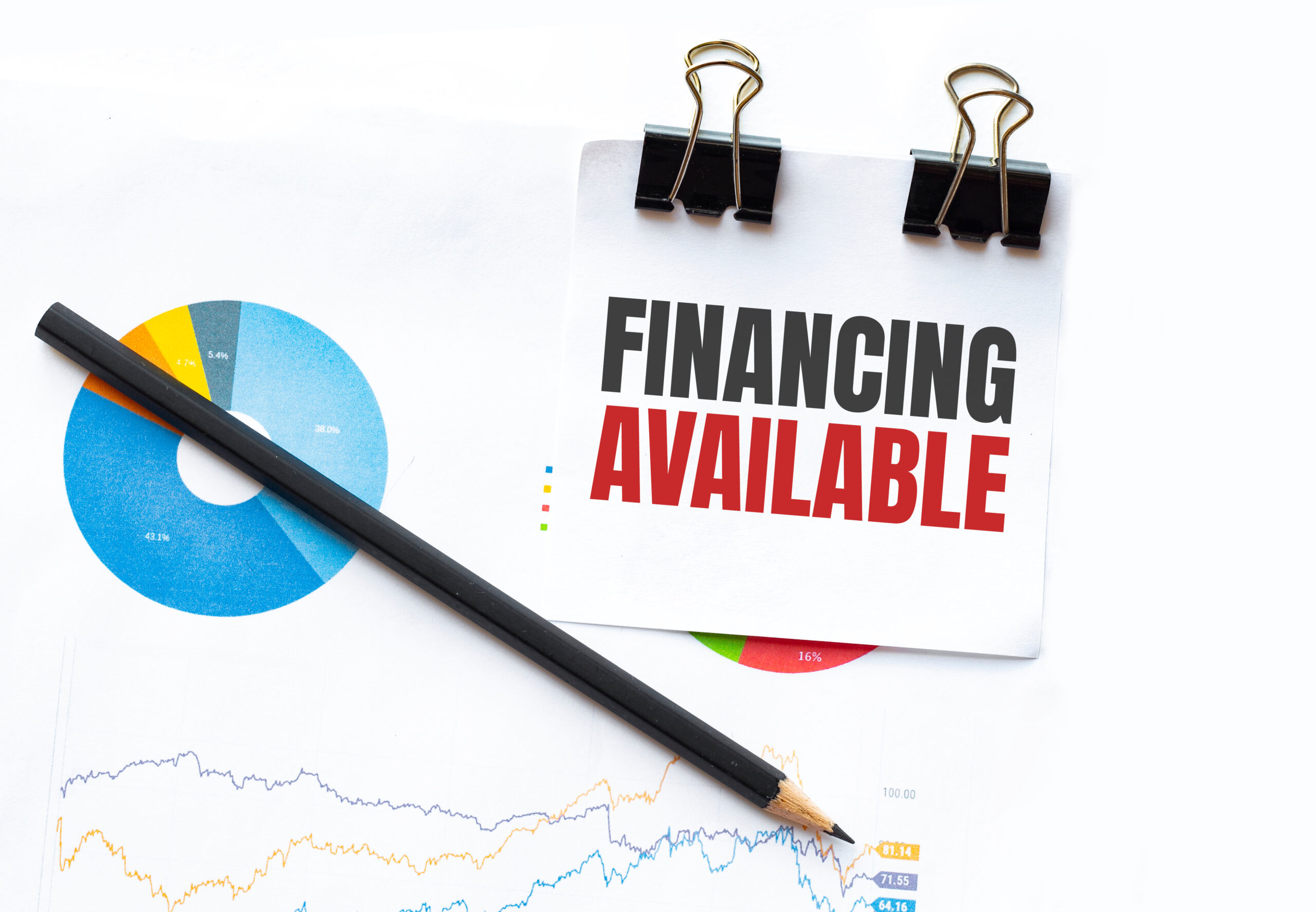 Notepad with text FINANCING AVAILABLE on business charts and pen